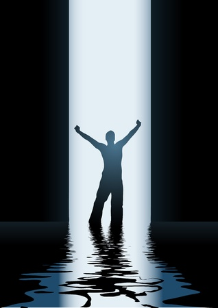 hands in the air: In to the light  vector illustration