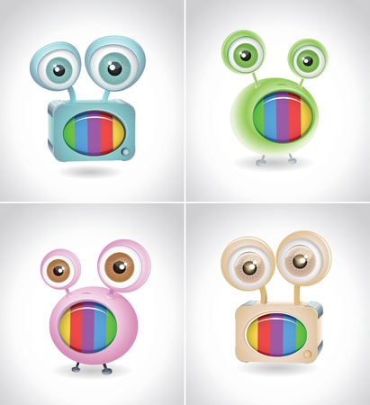 Retro TV things on white background  Vector 3d character design