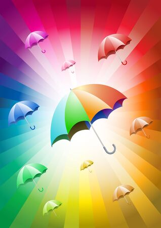colorful umbrellas on colorful background  Vector