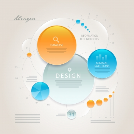 process flow: Vector abstract minimal information design template  Elements are layered separately in vector file  Easy editable