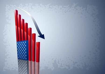 downturn: Moving down chart American flag  All elements are layered separately in vector file