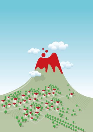 cartoon volcano: Volcano  Village on outskirt of volcano  Vector illustration  Elements are separated layers in vector file  Easy editable