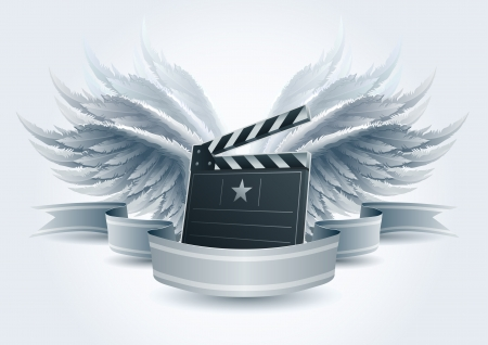 film slate: Winged clapboard banner illustration  Elements are layered separately in vector file  Easy editable  Illustration