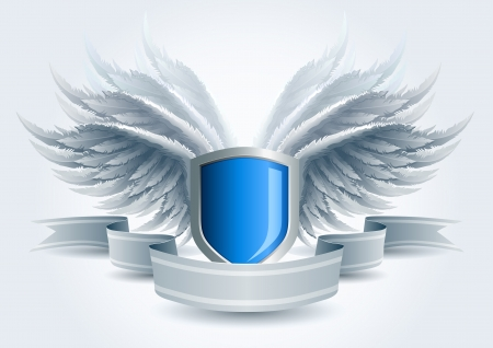Winged shield banner  Security concept  Elements are layered separately in vector file  Easy editable  Vector