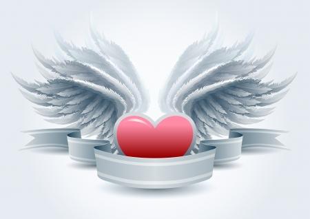 grunge wings: Ali molto dettagliate e cuore banner e illustrazione