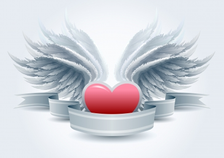 Highly detailed wings and heart banner illustration Vector