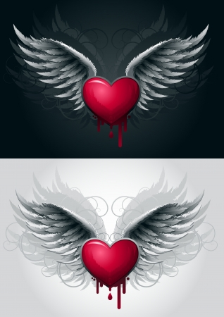 heart and wings: Highly detailed vector wings and heart illustration  All elemenzs are layered and grouped in vector file