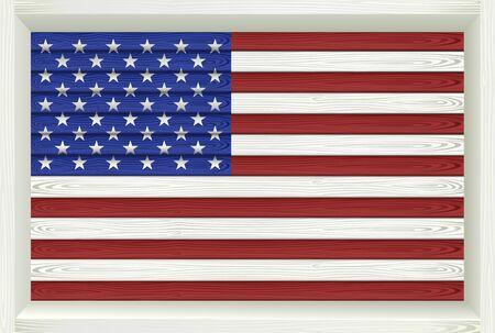 united states flag: Wooden American Flag. Vector illustration.