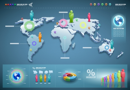 visualize: Mappa del mondo 3d illustrazione e informazioni grafiche modello di progettazione. Vettoriali