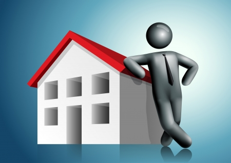3d vector man leaning house. All elements are layered separately in vector file. Mesh used EPS10 file. Stock Vector - 18994667