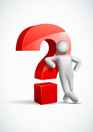 3d uomo appoggiato simbolo del punto interrogativo