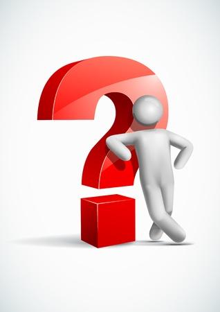 interrogative: 3d man leaning question mark symbol Illustration