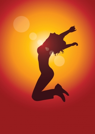 emotional freedom: jumping girl vector illustration.