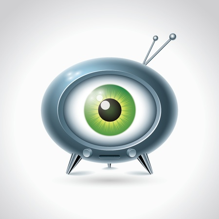 Big brother is watching you. Retro TV on white background. character design.