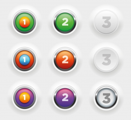 Vaus vector raised buttons collection  Elements are layered separately  Stock Vector - 19379537
