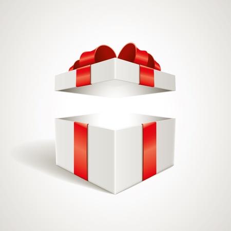 cadeaupapier: Vector geopend geschenkdoos illustratie Elementen zijn afzonderlijk gelaagde in vector bestand Stock Illustratie
