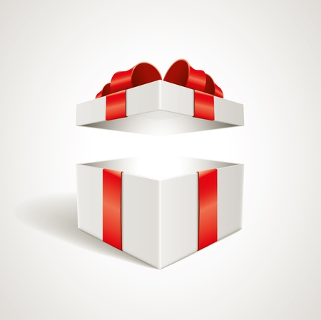 red gift box: Vector open gift box illustration  Elements are layered separately in vector file