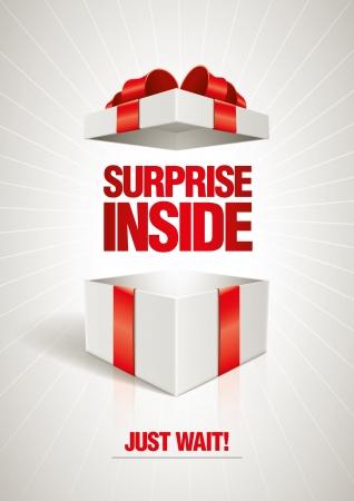 리본: 벡터 깜짝 안쪽에 오픈 선물 상자 디자인 서식 파일