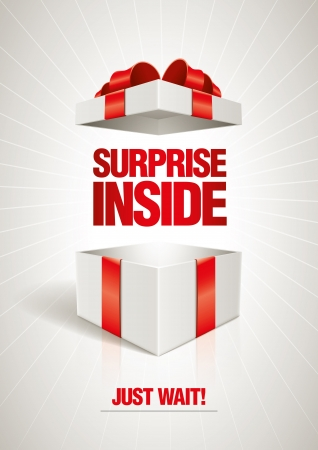 pr�sentieren: Vector �berraschung im Inneren offenen Geschenkkarton Design-Vorlage