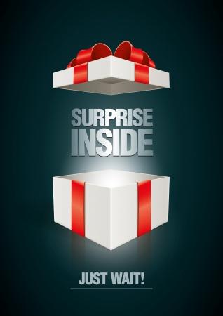 Vector Überraschung im Inneren offenen Geschenkkarton Design-Vorlage