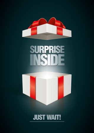 present: Vector surprise inside open gift box design template