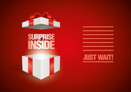 Vector surprise inside open gift box design template  Elements are layered separately in vector file  Illustration