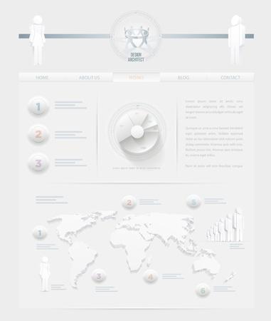 site web: Vector infographic a tema bianco web site elementi del modello di progettazione sono disposti separatamente Vettoriali