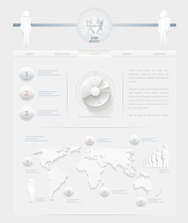 Vector infographic themed white web site design template  Elements are layered separately