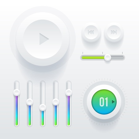 play music: Vector ui  user interface  elements