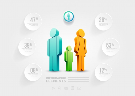 Vector people infographic design template  Elements are layered separately in vector file  Vector