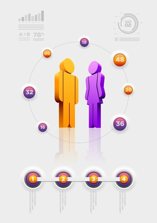 shadow woman: Vector people infographic design template  Elements are layered separately in vector file