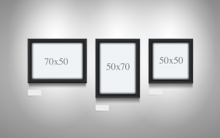 Realistic vector illustration of black wooden frames  7x5, 5x7, 5x5 three frames  Elements are layered separately  Illustration