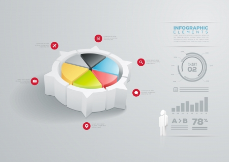 Vector pie chart infographic design template  Vector