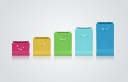 gift bags: Vector collection of colorful paper bags