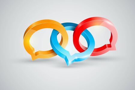 conspire: Vector speech rings symbol illustration