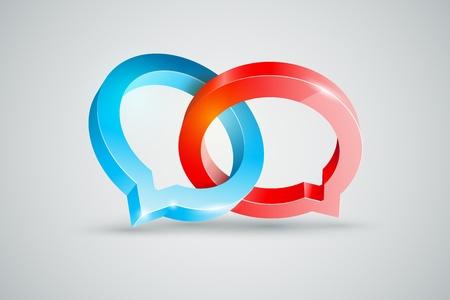 conspire: Vector speech rings symbol illustration