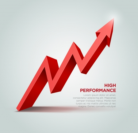 price development: Vector 3d arrow graph illustration  Illustration