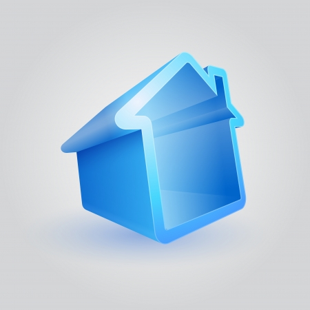 themed: Vector illustraton of real estate themed 3d house symbol