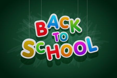 green back: Vector multicolored Back to School text.