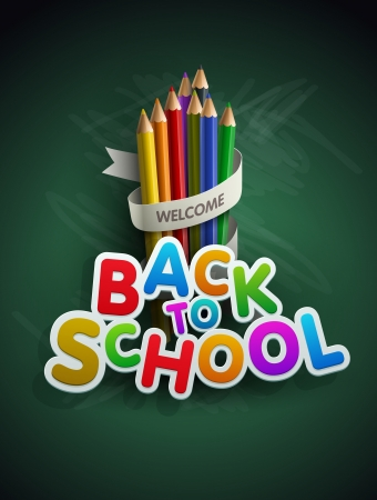 green back: Welcome back to school. Vector illustration.