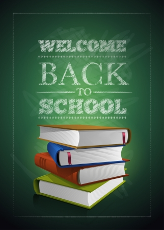 high school students: Welcome back to school. Vector illustration.