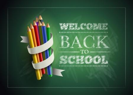 escuelas: Bienvenido de nuevo a la escuela. Ilustración del vector.