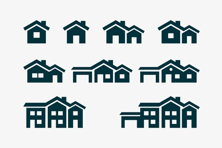 house roof: Vector various house icon set.