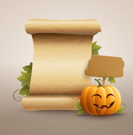 Pumpkin and scrolled old paper  Vector illustration   Vector