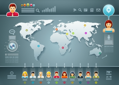 world map and people infographics  Elements are layered separately in vector file