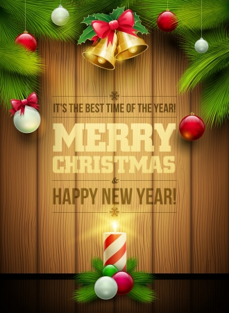 christmas template: oggetti di Natale e il messaggio su fondo in legno