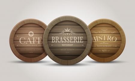 whisky: Enseignes de tonneau en bois pour les cafés, restaurant, bistrot, brasserie, la bière, le vin ou le whisky Illustration