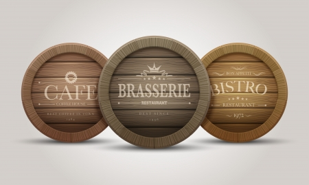 liquor: Wooden barrel signboards for cafe, restaurant, bistro, brasserie, beer, wine or whiskey