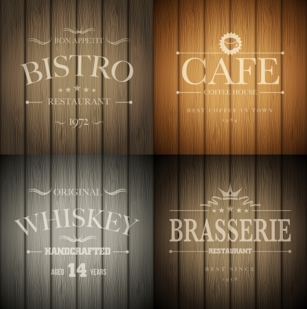 liquor: Bistro, cafe, brasserie and whiskey emblem templates on wooden background