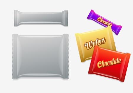Chocolat plastique d'emballage, des plaquettes, des bonbons ou des bonbons Easy Pack Elements modifiables sont posés séparément suffit de sélectionner le calque de travail Faire un masque d'écrêtage et changer Idéal pour les présentations de conception Banque d'images - 21642142